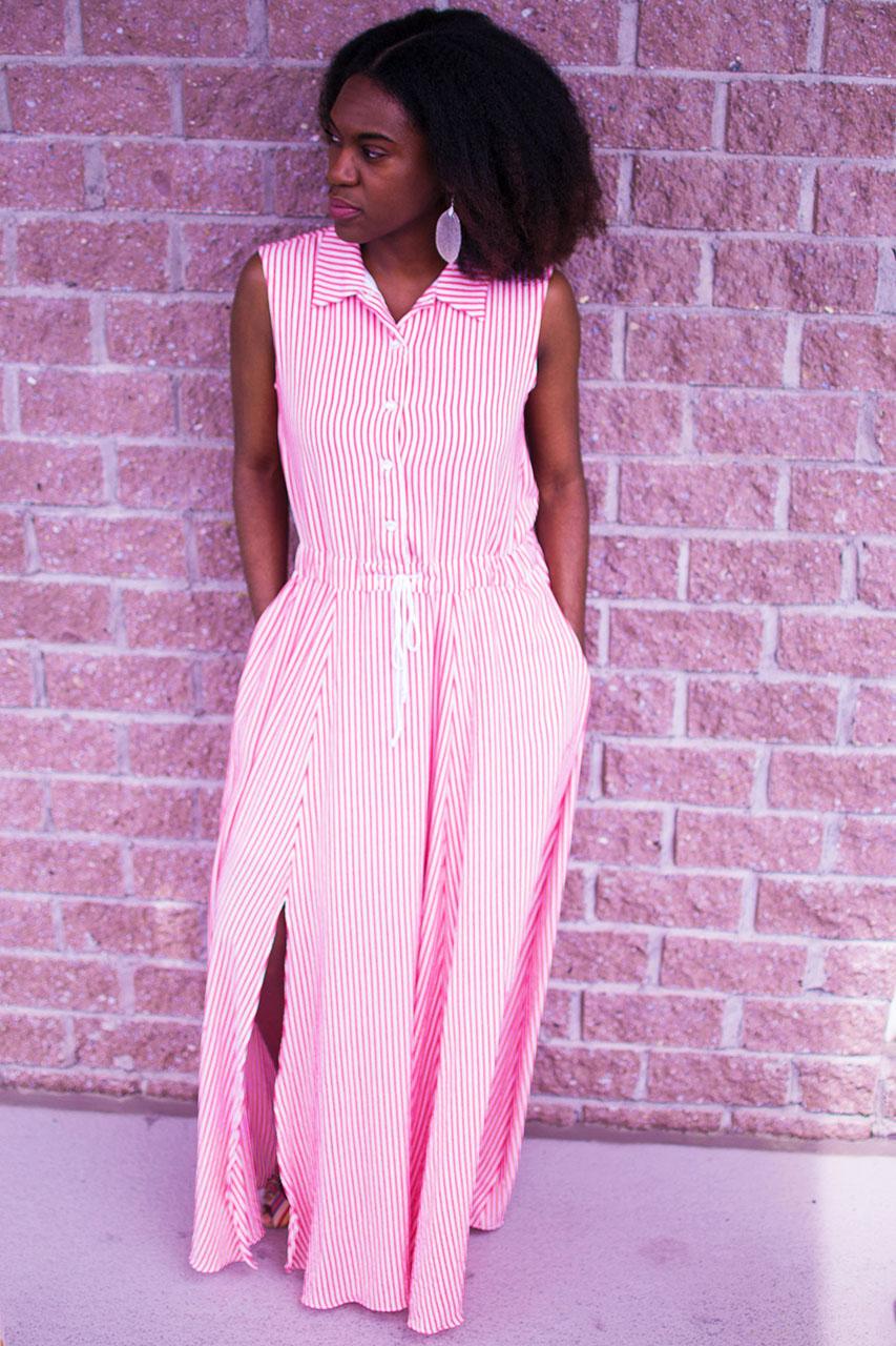 54e8d2154d Maxi Shirt Dress With Slits On Both Sides